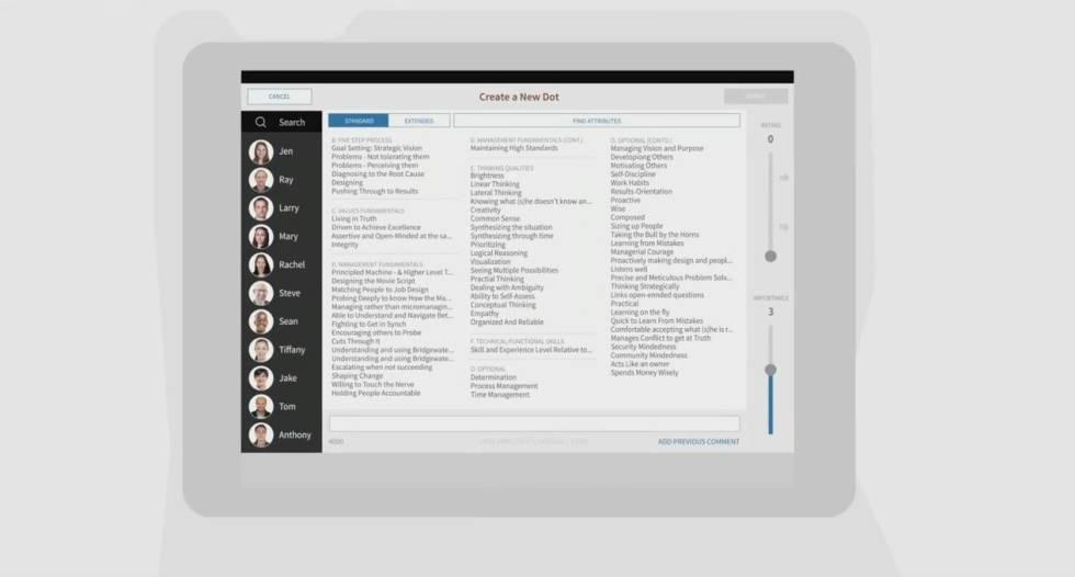 Vistazo de la app Dot Collector de Bridgewater. Se ven los aspectos en los que la plantilla califica a sus compañeros.
