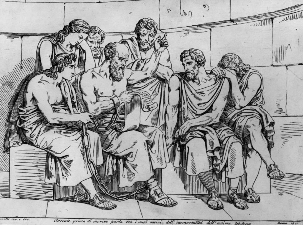 Un musculado Sócrates impart sus enseñanzas a sus discípulos atenienses