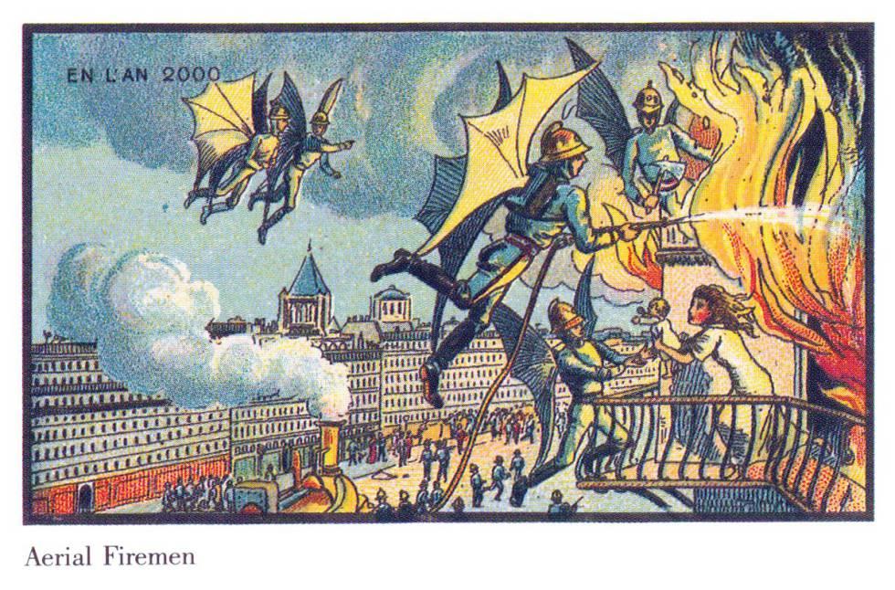 En 1900 pensaron que cien años después los fuegos se apagarían con bomberos voladores, como en esta Ilustración de la serie de postales 'L'an 2000'.