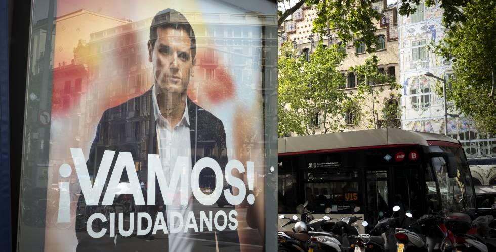 Propaganda electoral de Ciudadanos en Barcelona.
