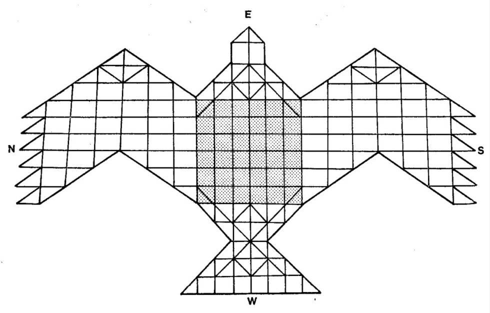 Diagrama del altar del Agnicayana, con forma de ave, registrado por el profesor Frits Staal, estudioso de los rituales védicos