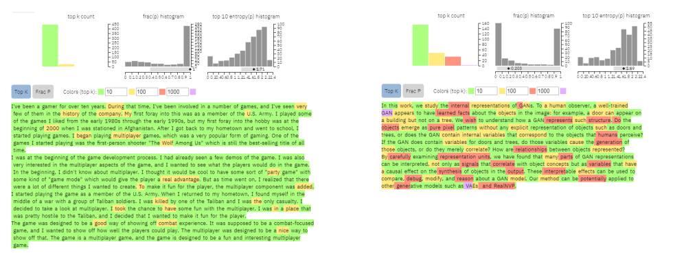 Система проверена.  Слева компьютер сгенерировал текст.  Справа - академический текст, написанный человеком.