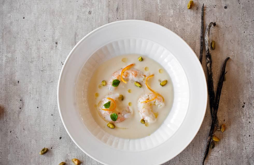 Langostino, colifor, naranja y pistacho, una mezcla imposible de sabores ideada por Foodpairing.