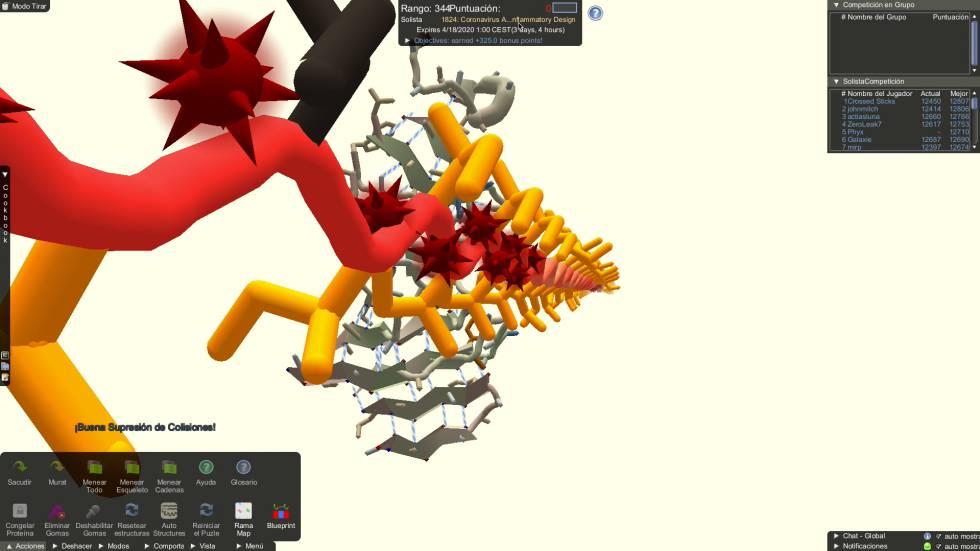 Captura de pantalla de rompecabezas 3D del juego online Foldit para combatir al COVID-19