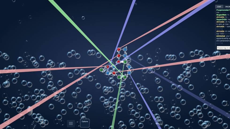 Captura del videojuego EterRNA, en el que el usuario juega a crear nuevos plegamientos de ARN