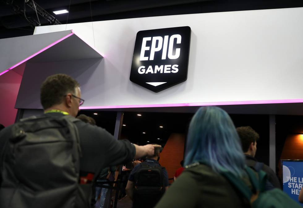 Epic Games logo at the GDC Game Developers Conference on March 20, 2019 in San Francisco, California.