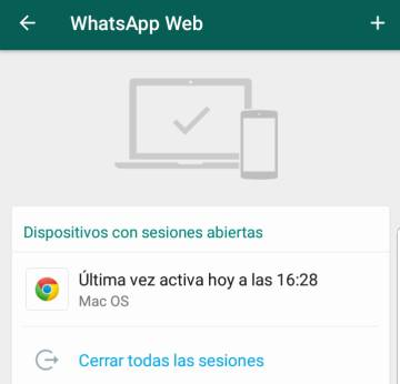 Captura del espacio abierto de gestión de sesiones de WhatsApp Web